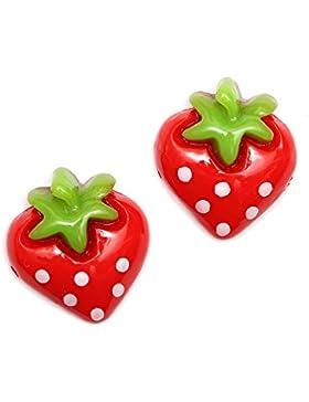 Idin Ohrclips - Rote, gepunktete Erdbeeren (ca. 15 x 18 mm)