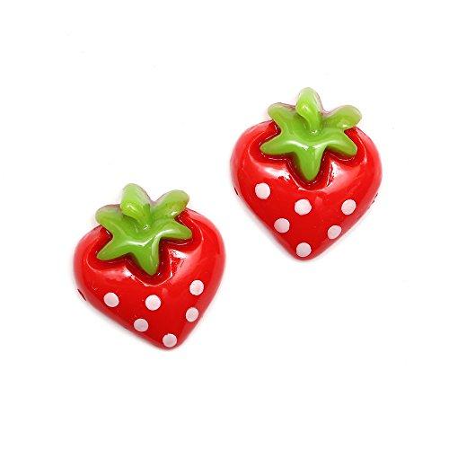 Pendientes Idin, de clip, con diseño de fresas con puntos, 15x18 mm aprox.