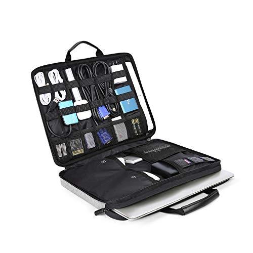 BAGSMART Laptop Aktentasche mit Elektronik Zubehör Organizer, Notebooktasche für 14 Zoll Laptop, 12.9 Zoll Tablet Kabel Ladegerät Netzteil Maus Powerbank, Grau -