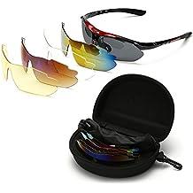 Gafas de Sol Deportivas Sports Sunglasses Polarizadas 5 Lentes Goggles Gafas de Protección Deportivas Ciclismo para Bike Bicicleta Bicycle Cycling Deporte y Aire Libre Conducción Pesca Esquiar Golf (Red)