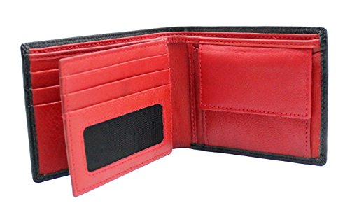 StarHide Herren Geldbörsen Hochwertiges Weiches Echtes Leder Mit ID-Kartentasche Fenster & Münztasche Geldbörse (Schwarz / Rot) - 1216 (Id-fenster-schwarz-herren-geldbörsen)