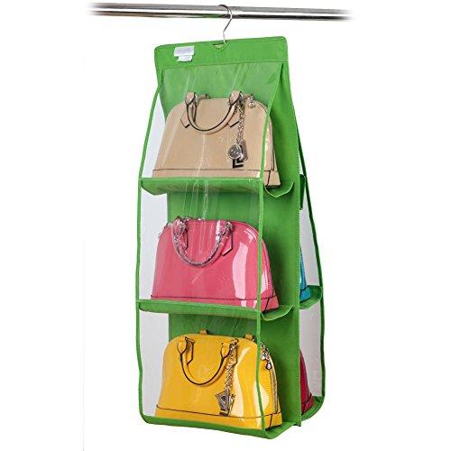 Chinatera 6 Pocket Large Clear Purse Handbag Hanging Storage Organizer Closet (Green) by Chinatera Diy Closet Organizer