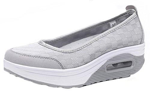 NEWZCERS Femmes slip-on transpirable simple été doux chaussures plate-forme unique Gris