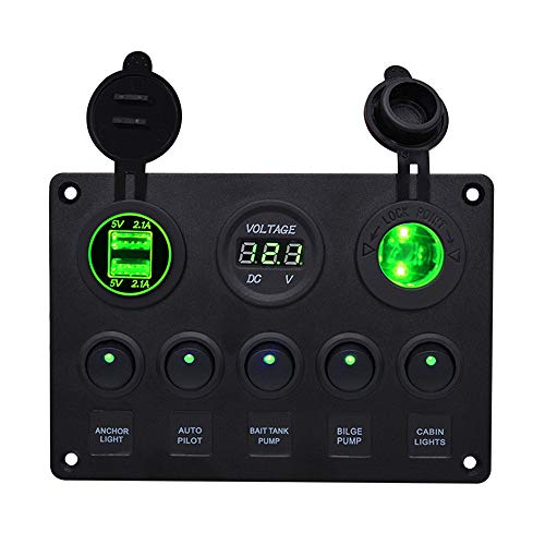 Kfz Ladegerät für iPhone, TechCode Dual USB Buchse Zigarettenanzünder Ladegerät LED Voltmeter 12V Kfz Steckdose 5 Kippschalter Steckdose für Auto Boot Marine RV Yachten LKW Camper GPS Mobiles (Grün)