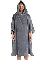 Winthome toalla con capucha para adultos, unisex con capucha playa Changing Robe Toalla de playa Poncho de natación
