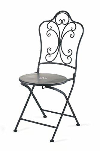 Galileo casa 2420690 sedia battuto, ferro, nero, 43x40x95 cm