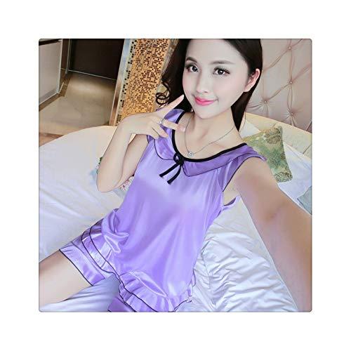Women's Sleeveless Pajamas Set Summer Breathable Pyjamas Fashion Ice Silk Nightwear Sets Charming Homewear Short Women Sleepwear X 228 dan zi L