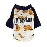 Zhixing Haustierweste Shirt Sommer Kleidung Ultradünn Drucken Sweatshirt Hunde Katzen Puppy Cool Weich Cozy Atmungsaktiv Für Klein Mittel Bichon Teddy Französische Bulldogge Fasergewebe,Banana,XL