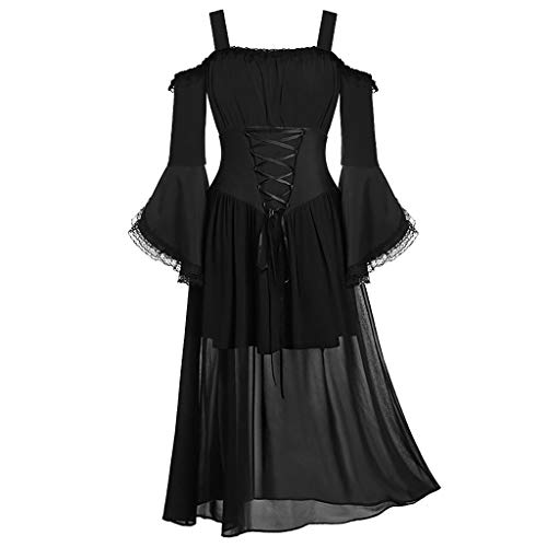Xmiral Jacke Damen Spitze Spleiß Unregelmäßiger Saum Schnürung Bluse Retro Mantel Kleid 1950s Mittelalter Rollenspiel Tops Große Größe(G Schwarz,XXL) -