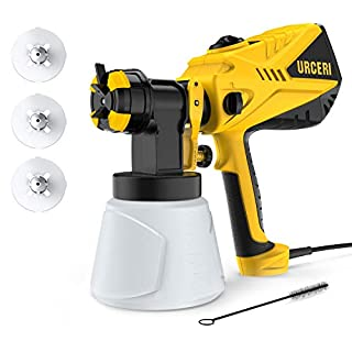 URCERI 600W Electric Paint Spray Gun 1200ml/min Maximum Flow with 3 Spray Patterns Adjustable 1000ml Detachable Container & 4 Nozzles Paint Sprayer for Work and DIY Craft Projects