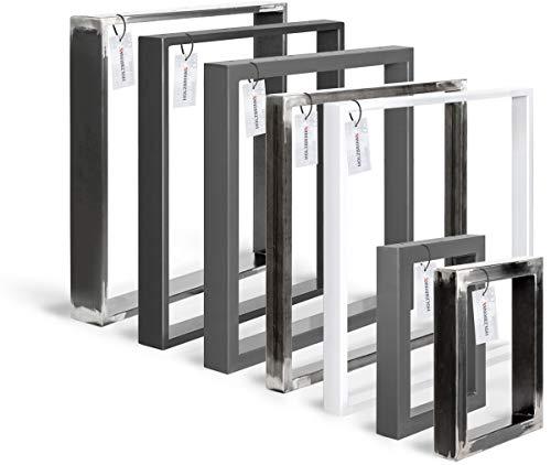 HOLZBRINK Tischkufen aus Vierkantprofilen 60x30 mm, Tischgestell 80x72 cm, Rohstahl mit Klarlack, 1 Stück, HLT-01-D-FF-0000 -