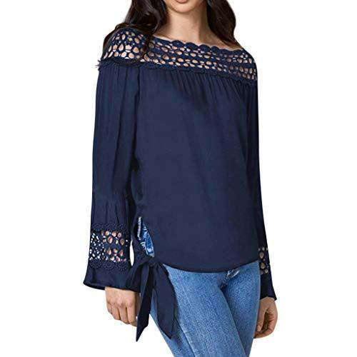 Moserian Damen Solide Schulterfrei Rüschen Spitze Patchwork Bandage T-Shirt Bluse