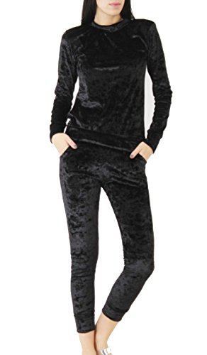 Tuta sportiva da donna in due pezzi, in velour Black