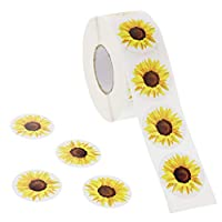 Blue Panda Kids Stickers (1 Roll) 1000 Count, 1.5 Inch, Yellow Sunflower