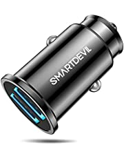 SmartDevil 4.8A Aluminium Alloy Dual USB Ports Mini Fast Charging Car Charger Adapter for iPhone Xs Max XR X 8 7 6, iPad, Galaxy S10 S10e S9 S8 and More (Black)