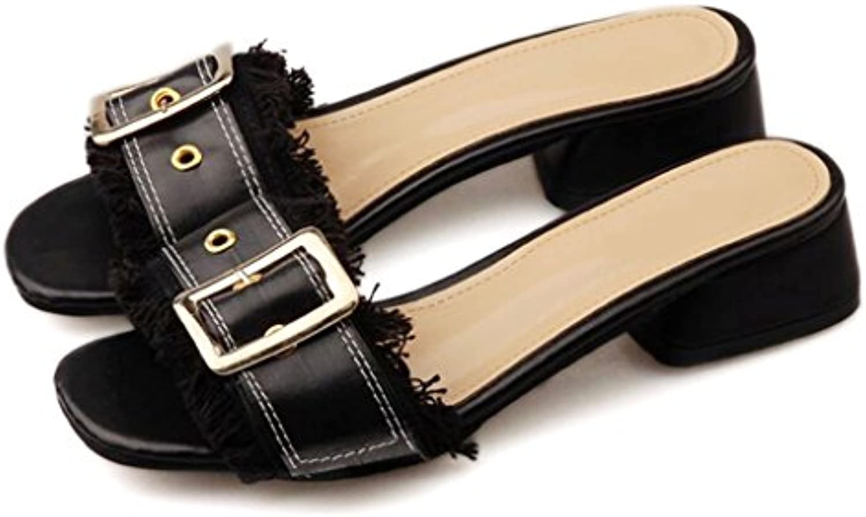 b6e31ad31b8 YAnFAn   Sandals Sandal Slip-On for Woman Woman Woman Girls Stylish Block  Heel Buckle Strap Slipper in Summer for Walk Party... B07F74HYMG Parent  1e2d01