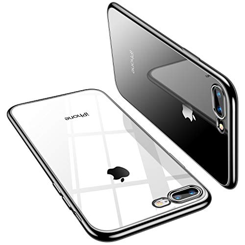 TORRAS iPhone 8 Plus Case, iPhone 7 Plus Case, Crystal Clear with Stylish Edge Slim Thin [Anti-Yellow] Reinforced Soft Silicone TPU Protective Case Cover for iPhone 7 Plus/8 Plus - Black