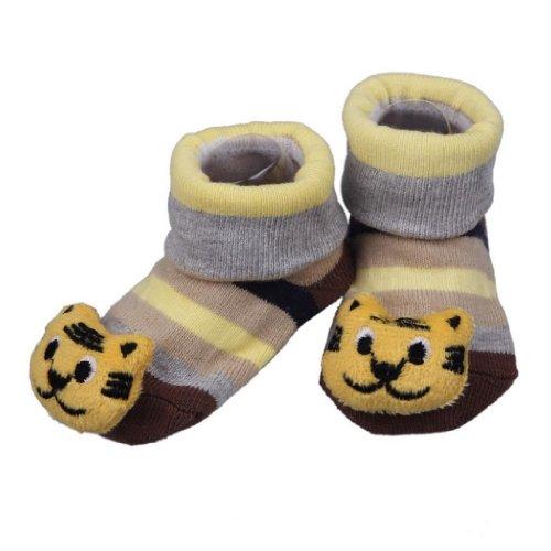 Bigood Chaussures Chaussons Chausettes Bébé Coton Antidérapant Ours Souriant Tigre