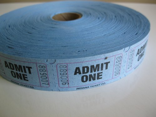 2000 Blue Admit One Single Roll Consecutively Numbered Raffle Tickets by 50/50 Raffle Tickets (Single Roll Tickets)