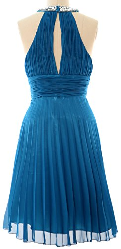 MACloth Women Halter Crystal Chiffon Short Evening Dress Cocktail Formal Gown Himmelblau