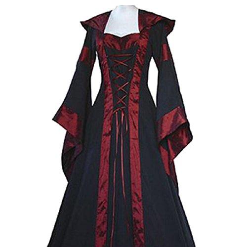 Maxikleid Retro Boho Kleid Halloween Weihnachten Kostüm Langarm Kleid (EU 38/Herstellergröße L, Schwarz 1) (Kostüme Weihnachten)
