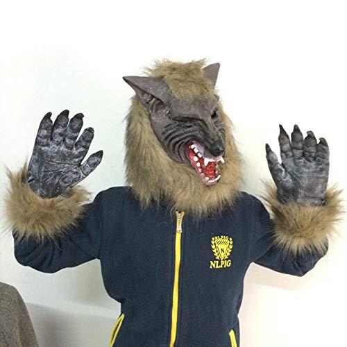ZX Maske Halloween Tier Set Grau Wolf Kopf -
