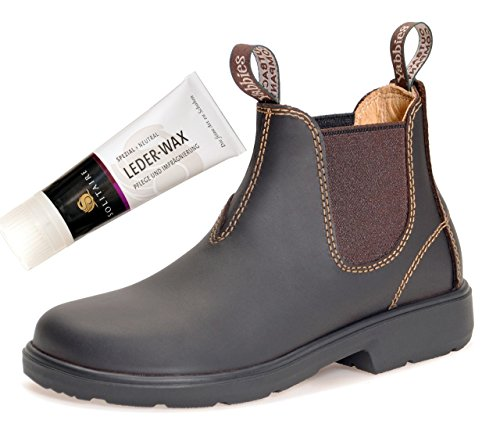 Yabbies for Kids Leder Boots Schuhe für Kinder Stiefelette – Dark Brown + Lederwax von Solitaire (UK 10 / EU 28)