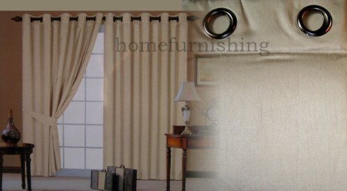 CREAM FAUX SILK LINED CURTAINS WITH EYELET RING TOP 66 x 90 by HOMEMAKER BEDDING
