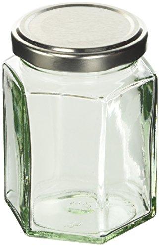 Nutley's Barattolo da marmellata esagonale con coperchio, 227 g, confezione da 24, colore: Argento