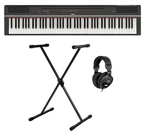 Yamaha P-125B Stage Piano Set (88 anschlagdynamische Tasten auf (GHS) Tastatur, interne Bass & Schlagzeugspuren sowie Tisch EQ'-Funktion, Set inkl. X-Keyboardständer & Kopfhörer) Schwarz