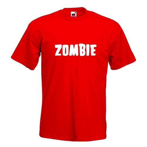 KIWISTAR - Zombie Wort T-Shirt in 15 verschiedenen Farben - Herren Funshirt bedruckt Design Sprüche Spruch Motive Oberteil Baumwolle Print Größe S M L XL XXL Rot