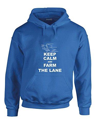Keep Calm and Farm the Lane, League of Legends inspiré, Video Games, Imprimé Sweat à capuche - Bleu royal/blanc XL= 116/121 cm