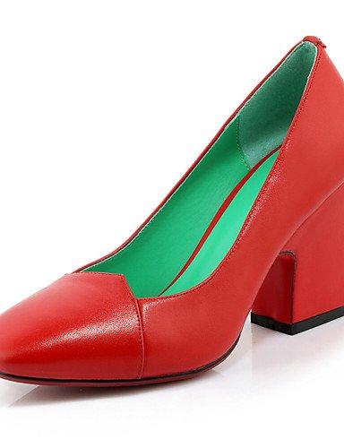 WSS 2016 Chaussures Femme-Bureau & Travail / Décontracté-Noir / Rouge / Beige-Gros Talon-Talons / Bout Carré-Chaussures à Talons-Cuir black-us8 / eu39 / uk6 / cn39