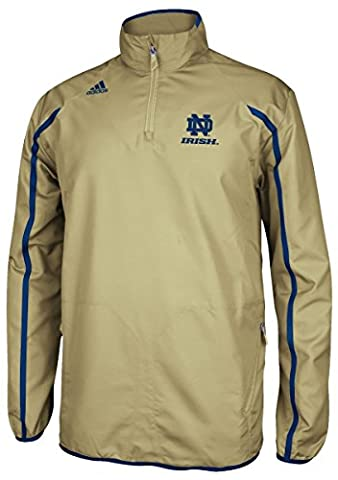 Notre Dame Fighting Irish Adidas NCAA Sideline 1/4 Zip Climaproof Jacket - Gold (Irish Ncaa)