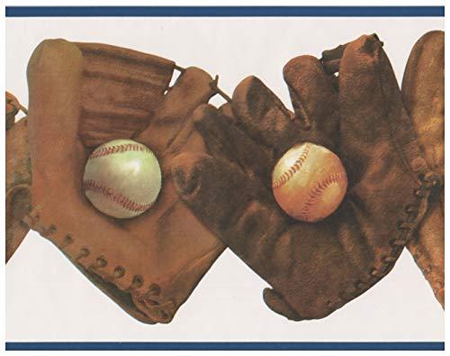 Retro Art Roll-Vintage braun Baseball-Handschuhe mit Kugeln weißen Tapete Grenze Retro-Design, 15' x 8,5