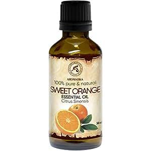 Orangenöl - 100% Reine Ätherisches Orangenöl 50ml - Brasilien - Orangen Öl für Guten Schlaf - Körperpflege - Schönheit - Kosmetik - Entspannung - Massage - Spa - Raumduft - Duftlampe - von Aromatika