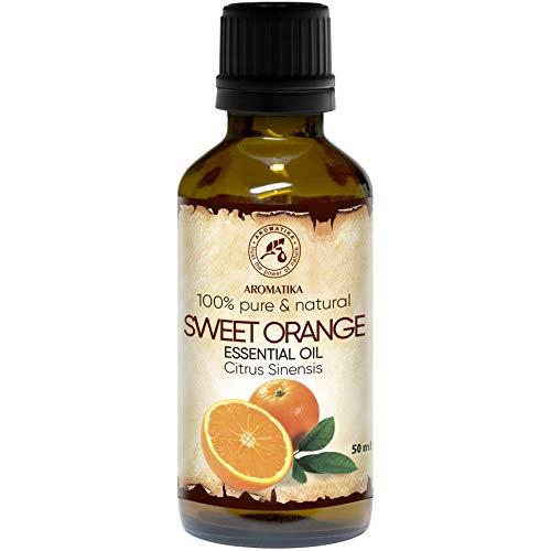 Orangenöl - 100{407c1ad8496a5feebfd939dff6cd55ab37e40294c960bf4e0d8b5f0a8aac6596} Reine Ätherisches Orangenöl 50ml - Brasilien - Orangen Öl für Guten Schlaf - Raumduft - Duftlampe