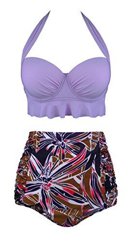 5a5d3724e0 Angerella Halter Bathing Suits pour Femme Retro Maillots de Bain 2 Pièces  Push Up Bikini,Violet,2XL