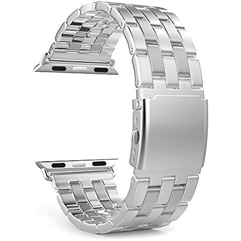 MoKo Apple Watch SERIES 1 / 2 Correa - Reemplazo SmartWatch Band de Reloj Acero Inoxidable con Doble Botones Plegable para Apple Watch 42mm, Plata (NO ADPTA PARA 38mm / NO INCLUYE