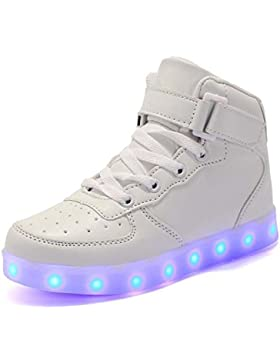 Rojeam Unisexo Adulto Altos LED Shoes Zapatos Deportivos USB Charging Aire Libre Athletics Casual Parejas Zapatos...