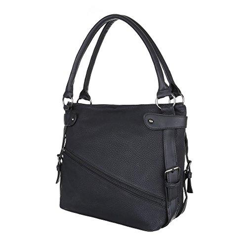 iTal-dEsiGn Damentasche Mittelgroße Schultertasche Handtasche Kunstleder TA-C2158 Schwarz