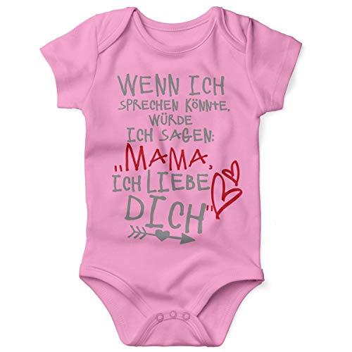 Mikalino Babybody mit Spruch für Jungen Mädchen Unisex Kurzarm Wenn ich sprechen könnte würde ich Sagen: Mama ich Liebe Dich | handbedruckt | Handmade with Love, Farbe:rosa, Grösse:62 (Beste Mama-und Baby-halloween-kostüme)