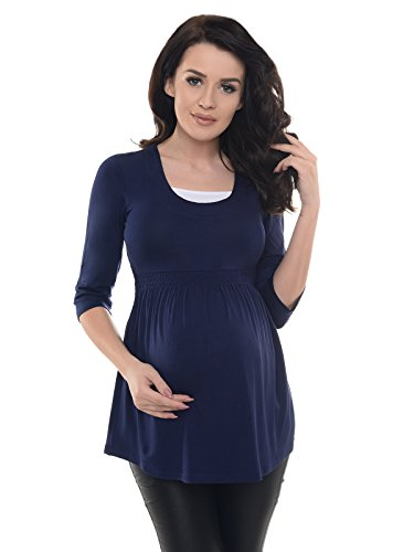 Purpless Maternity Damen 3/4 Arm Schwangerschaft Tunika D5200 (38, Navy) (Mutterschaft Bump T-shirts)