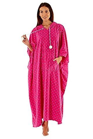 femmes PONCHO CAFTAN vêtement de Loisirs grande taille Lounge Pyjama chaude - Rose, Taille Unique