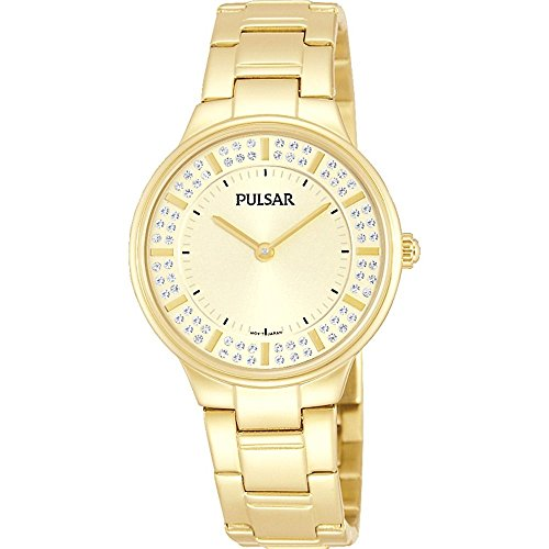 Pulsar Women's 30mm Gold Plated Bracelet & Case S. Sapphire Quartz Gold-Tone Dial Analog Watch PM2090X1