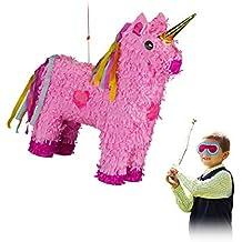 Relaxdays – 10024662 Piñata Unicornio, para Colgar, niños, niñas, cumpleaños para Rellenar