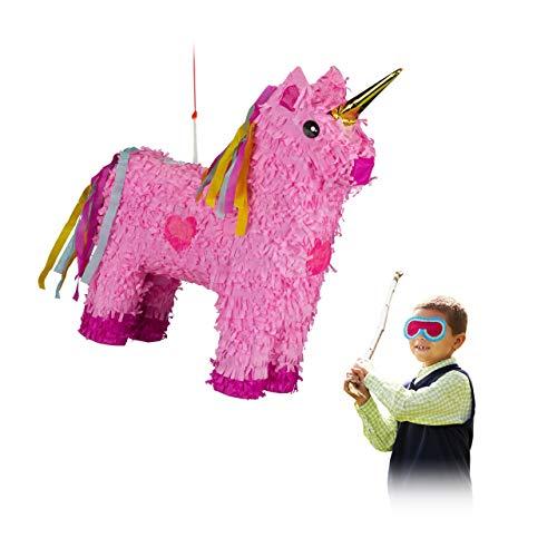 Relaxdays–10024662Piñata Unicornio, para Colgar, niños, niñas, cumpleaños para Rellenar, hxbxt: 47x 43x 13cm, Color Rosa de Color Rosa
