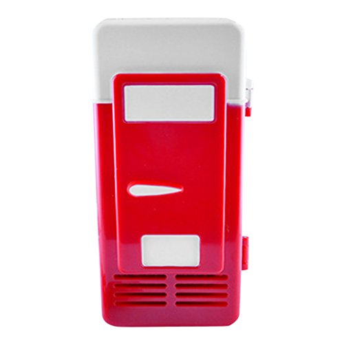 Kühlschrank Bierkühler (Baoblaze Portable USB-Mini-Kühlschrank Getränkedosen Kühler & wärmer für outdoor zubehör - rot)