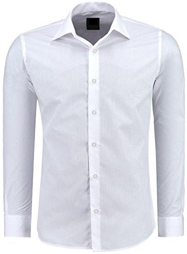 Herren-Hemd – Slim Fit – Bügelfrei / Bügelleicht – Für Business Freizeit Hochzeit – J'S FASHION - Weiß - M