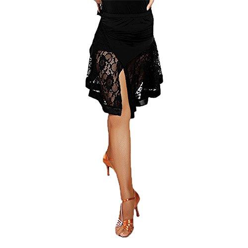 G2004 Latin und Standard-Tanz- Lace- verbundene Satin-Randschwingen-Röcke angeboten von GloriaDance (black, x-large) (Rock Satin Spandex)
